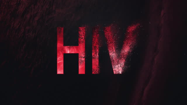 red, sparkling word 'hiv' on dark background. disappearing disease metaphor - danger stock videos & royalty-free footage