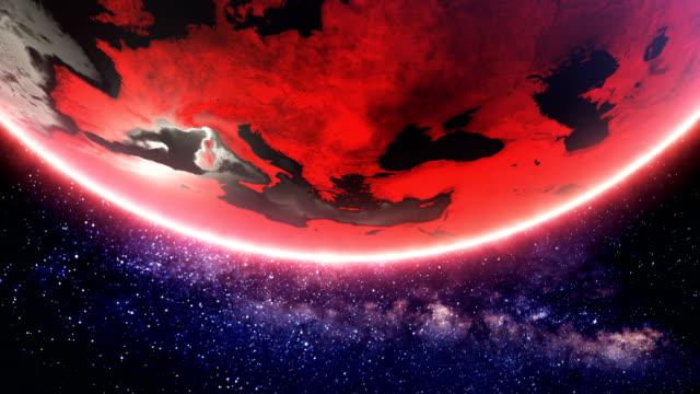 vidéos et rushes de rouge, filature de terre (boucle) - apocalypse