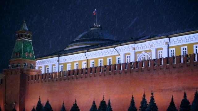 red square and kremlin at snowy night - russian culture stock videos & royalty-free footage