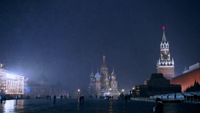 red square at night during snow storm - st. basil's cathedral stock videos and b-roll footage