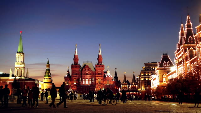 red square at summer night - moscow russia stock videos & royalty-free footage