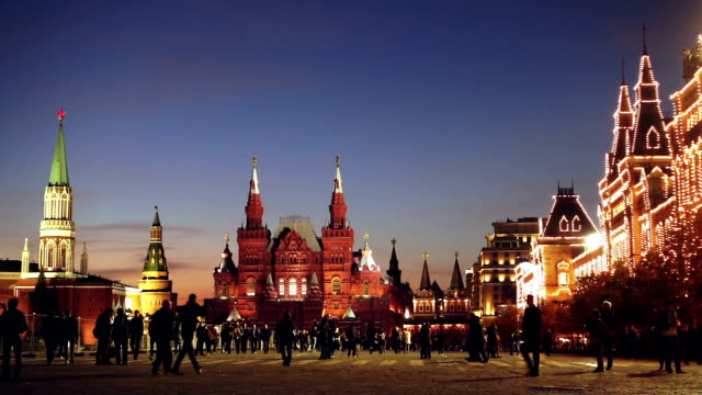 red square at summer night - communism stock videos and b-roll footage