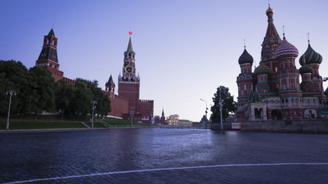 red square in moscow at dawn - st. basil's cathedral stock videos and b-roll footage
