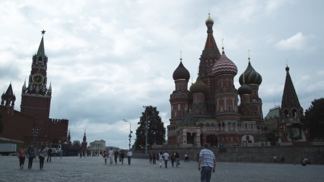 ws red square with st basil's cathedral / moscow, russia - st. basil's cathedral stock videos and b-roll footage