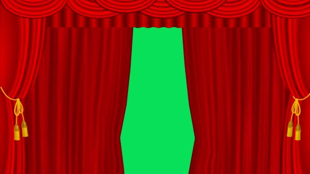 レッドステージカーテンオープニング - カーテンレール点の映像素材/bロール
