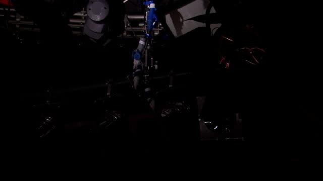 red stage lights turn on. - kulisse bühne stock-videos und b-roll-filmmaterial
