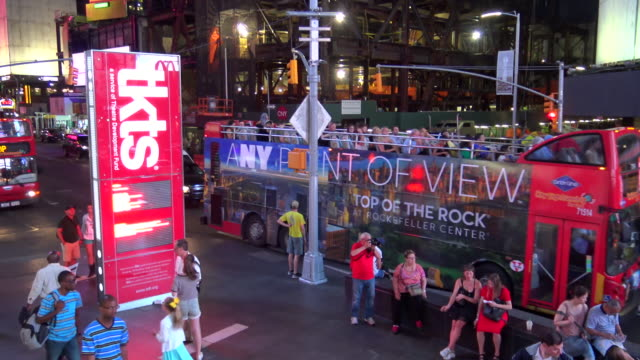 tkts red steps, times square, new york city - 7th avenue stock videos & royalty-free footage