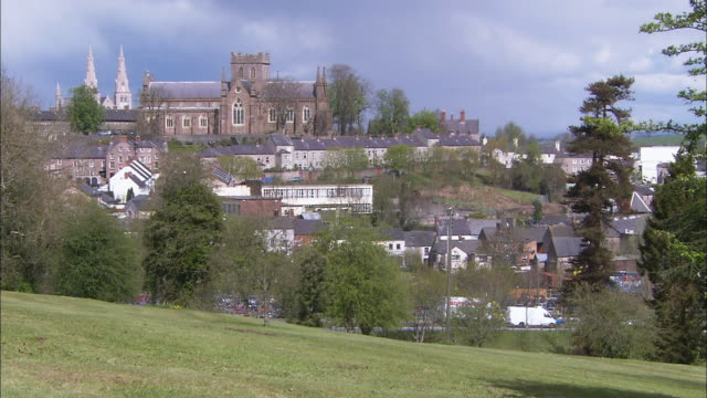 Red stone church over Irish town, Armagh, Northern Ireland