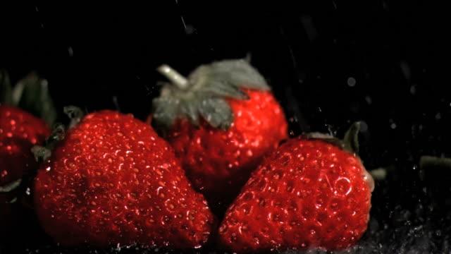 red strawberries in super slow motion being wet - fünf gegenstände stock-videos und b-roll-filmmaterial