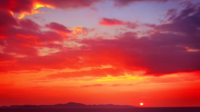 red sunset - red cloud sky stock videos & royalty-free footage