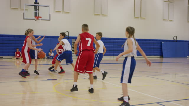 red team scores basket after many passes - match sport stock videos & royalty-free footage