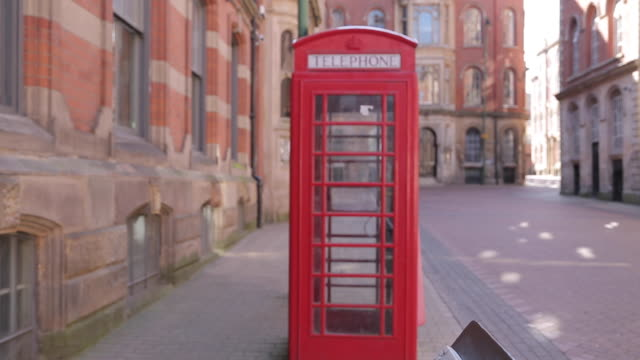 Red Telephone Box in Lace Market District, Nottingham, England, UK, Europe