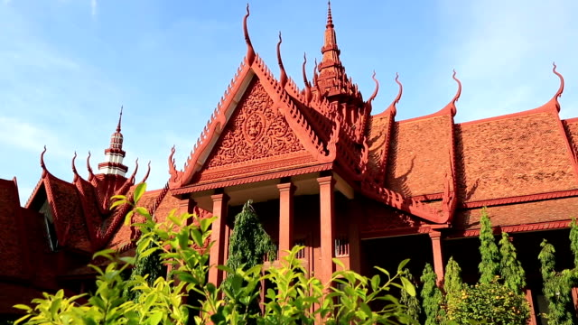 red temple in phnom penh, cambodia - phnom penh stock videos and b-roll footage