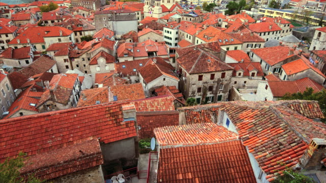 red tile rooftops of old town kotor, montenegro, view from above - montenegro stock videos & royalty-free footage