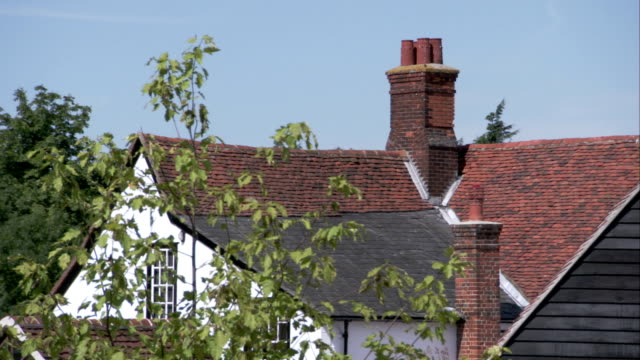 red tiles roof a tudor farmhouse in essex. available in hd. - farmhouse stock videos & royalty-free footage