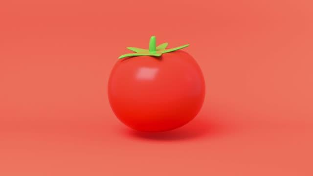 rote tomate bio-natur gemüse-karikatur stil 3d rendering - illustration stock-videos und b-roll-filmmaterial
