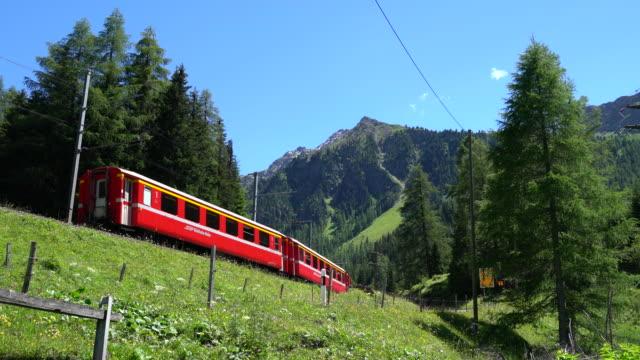vídeos de stock e filmes b-roll de red train in a forest - transporte ferroviário