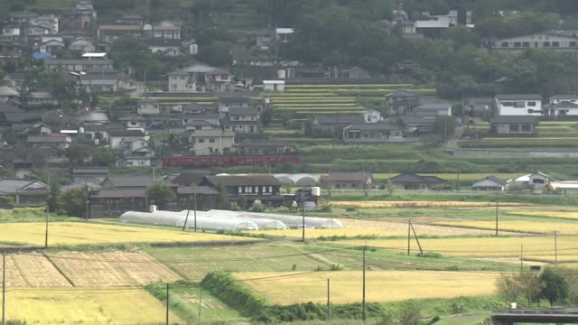 a red train on the kyudai main line running through rustic scenery in the city of yufu - oita city stock videos & royalty-free footage