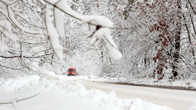 red truck moving on a snowy road in the forest. - van vehicle stock videos & royalty-free footage