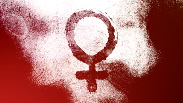 Red Venus, female, gender symbol on a high contrasted grungy and dirty, animated, distressed and smudged 4k video background with swirls and frame by frame motion feel with street style for the concepts of gender equality, women-social issues