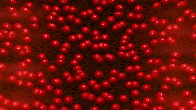 cellula covid-19 del virus rosso - herpes video stock e b–roll