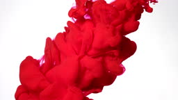 Red watercolor ink in water on a white background. Slow motion of colored acrylic paints in water.