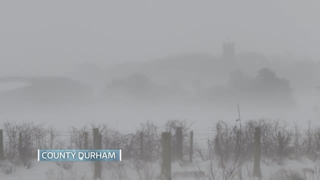 red weather warning issued in scotland / north of england badly hit ****aston county durham various of snow covered countryside - county durham stock videos & royalty-free footage