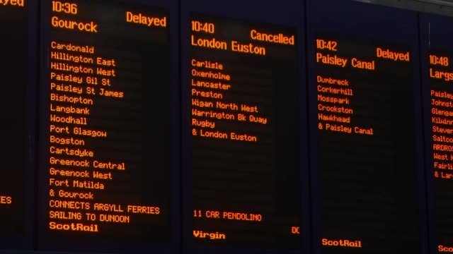 Red weather warning issued in Scotland SCOTLAND Glasgow INT Back view commuters looking at train departure boards **Vox pop partly overlaid SOT**...