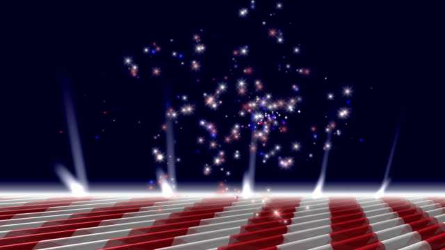 Red White and Blue Fireworks Loop w Alpha