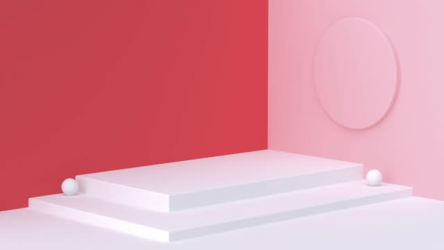 red white wall corner scene 3d rendering motion geometric shape - corner stock videos & royalty-free footage