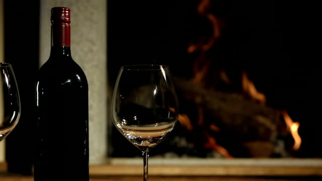 HD DOLLY: Red Wine By The Fireplace