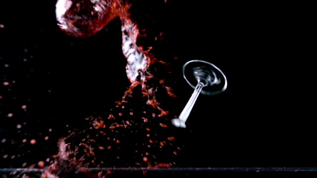 red wine glass smashes - drinking glass stock videos & royalty-free footage