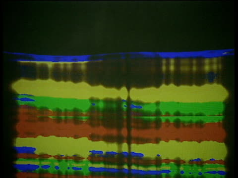 stockvideo's en b-roll-footage met red yellow green and blue colour coding of dna sequence scrolls across computer screen - scrollen