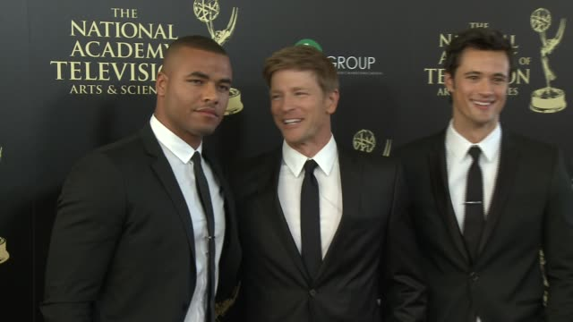 redaric williams, burgess jenkins, and matthew atkinson at the 2014 daytime emmy awards at the beverly hilton hotel on june 22, 2014 in beverly... - the beverly hilton hotel点の映像素材/bロール