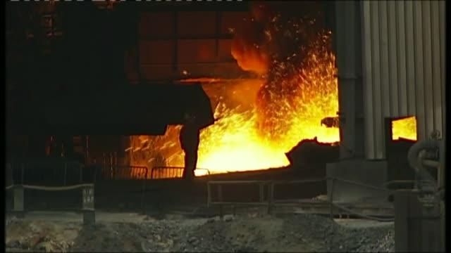 redcar steel plant mothballed with loss of 1700 jobs t19021005 / tx flames and sparks from blast furnace seen inside plant - blast furnace stock videos & royalty-free footage