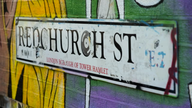 redchurch street sign, london - road sign stock videos & royalty-free footage