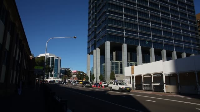 redevelopment of a block in macquarie street next to the sydney water office in central parramatta on june 03, 2015 in sydney, australia. parramatta... - office block exterior stock-videos und b-roll-filmmaterial