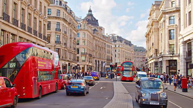 redgent street. famous shopping street. london - double decker bus stock videos & royalty-free footage