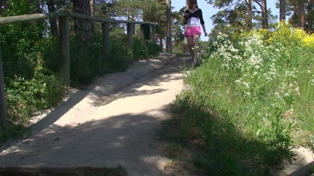 redhead hiking - mini skirt stock videos & royalty-free footage