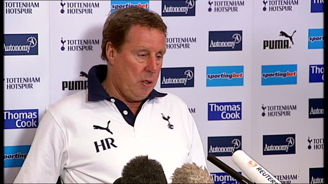 redknapp talks about game v manchester city england london chigwell int harry redknapp press conference sot we won't champions league football - ハリー レッドナップ点の映像素材/bロール