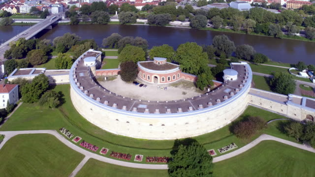 reduit tilly and klenzepark in ingolstadt from the south - donau stock-videos und b-roll-filmmaterial