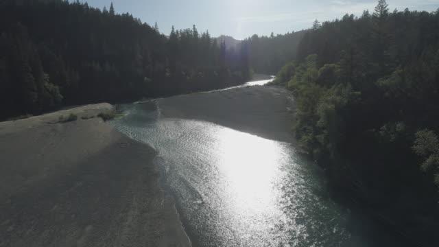 """vídeos de stock, filmes e b-roll de redwoods ao longo do rio eel, perto do parque estadual humboldt redwoods, e carl """"a"""" anderson redwoods natural preserve, califórnia, na noite de primavera. vídeo aéreo de drone com o movimento da câmera dianteira. - parque estatal de humboldt redwoods"""