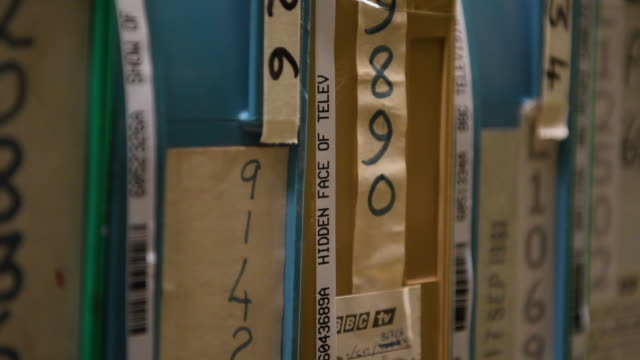 stockvideo's en b-roll-footage met reels in the bfi film archive on december 1, 2016 in berkhamsted, england. the british film institute has announced that, as part of a five-year... - bbc archives