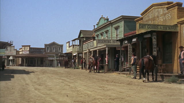 1966 ws reenactment 19th-century old west town - wild west stock videos & royalty-free footage
