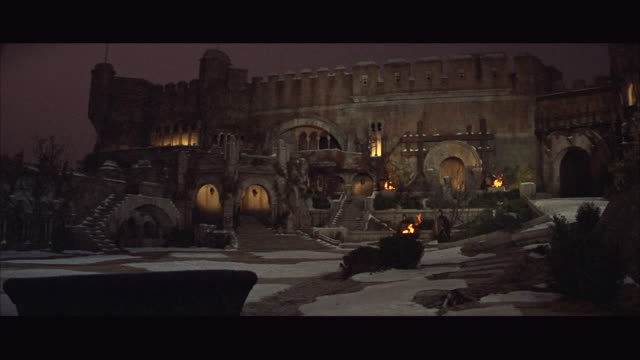 1966 WS Reenactment Medieval castle courtyard at night