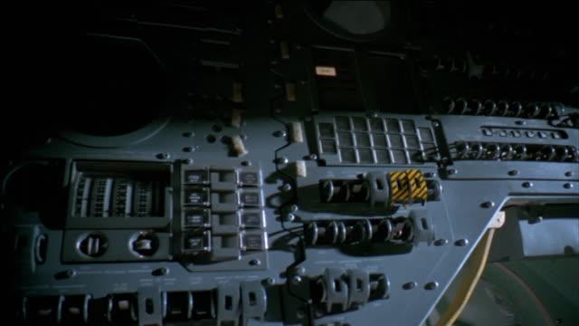 reenactment medium shot pan replica of control panel of apollo 13 command module - 1995 stock videos & royalty-free footage