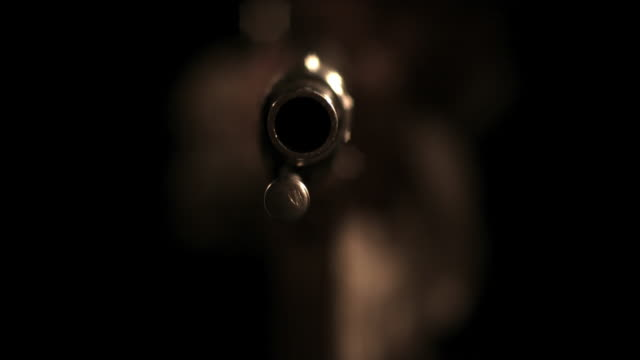 vidéos et rushes de reenactment of an 18th century flintlock rifle being fired. - fusil