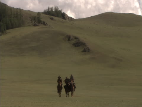 re-enactment of captured enemy of genghis khan and two army generals riding on horseback - reenactment stock videos & royalty-free footage