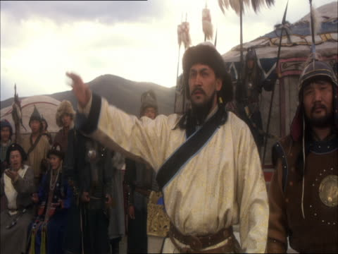 re-enactment of ceremony in which genghis khan is recognised as leader of all mongol tribes - reenactment stock videos & royalty-free footage