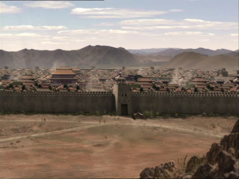 re-enactment of genghis khan approaching beijing on horseback and surveying the wall surrounding it - reenactment stock videos & royalty-free footage